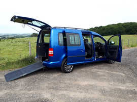 Automatic wheelchair access VW Caddy Maxi Life 5 seats plus wheelchair or mobility scooter, 2014/64, low mileage, free safe delivery & 14 day refund s