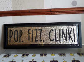 Pop Fizz Clink black and gold wall sign plaque