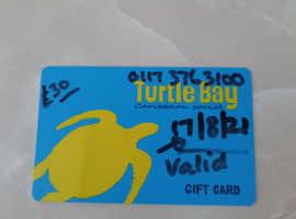 Turtle Bay Caribbean gift card £30.00 on card