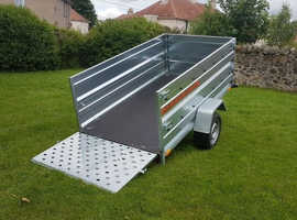BRAND NEW SINGLE AXLE TRAILER- CAMPING TRAILER DOUBLE BROADSIDE TIPPING WITH RAMP 7.7x4.2