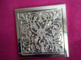 Silver plate double mirrored compact