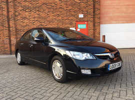 Honda Civic, 2008 (08) black saloon, Automatic Hybrid, 160000 miles