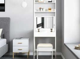 COSTWAY 3 In 1 Vanity Dressing Table Set with Mirror Stool HW63211