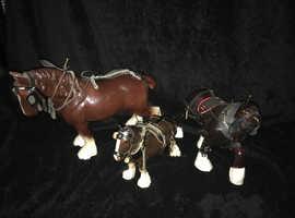 3 x Bone China Shire Horse Ornaments