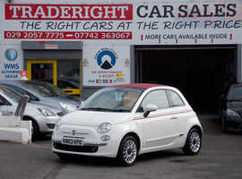 Fiat 500, 2013 (63) White Convertible, Manual Petrol, 39,971 miles