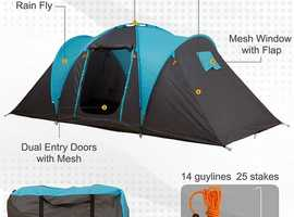 4-Person Outdoor Steel Frame Camping Tent - Blue