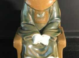 Oriental ceramic figurine. 23cm. (Or nearest offer) Please double click on picture to see full image.
