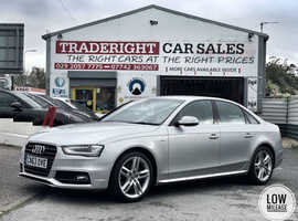 2013/63 Audi A4 2.0 TDi S-Line finished in Moonlight Silver Metallic.  25,514 miles