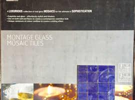 Bathroom & Kitchen Wall Tiles Mosaic Square Glass - BLUE - 10 Sheets 1m2