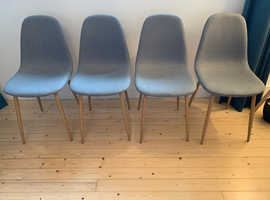4 Dining Chairs - grey fabric