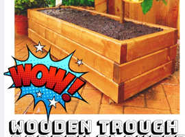 V groove handcrafted raised bed trough planter rectangle wooden planter box
