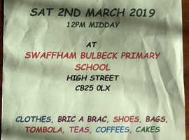 Jumble sale 2nd March swaffham bulbeck primary school 12pm Cambridgeshire