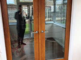 Intenal solid oak french doors