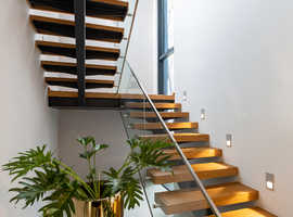 Bespoke Modern Metal Staircase - Steel & Glass Staircase Balustrades.