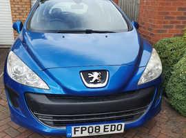 Peugeot 308 S HDI, 2008 (08) blue hatchback, Manual Diesel, 92,841 miles
