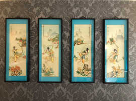 Set Of 4x Vintage Oriental Box Pictures made of mother of pearl and shell
