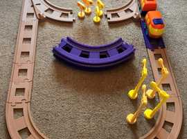 Train track + train + driver. Early Learning.