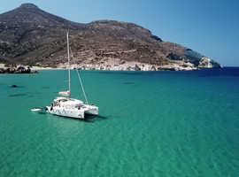Sailing in the Greek isles on-board a catamaran with skipper