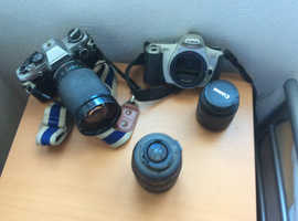 Miscellaneous camera items. Lenses camera bodies. Some require attention