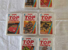 7 x Vintage Waddingtons Super Top Trumps Card Game - Cars, Aliens, Dinosaurs...