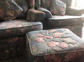 Two arm chairs are in very good condition settee is not