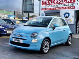 2016/16 Fiat 500 1.2 Pop Star finished in Volare Blue Special Pastel Paint. 10,530 miles