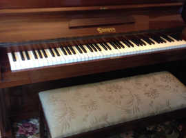 Seeger upright piano with duet stool