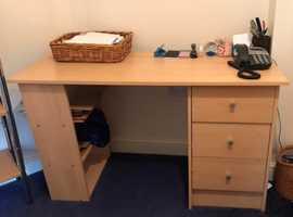 3 pieces of office furniture --  desk / bookshelf / tall shelving / all matching.