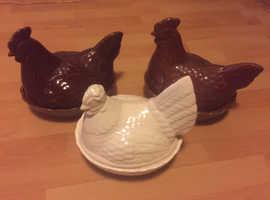 Three egg hens/ chicken. Egg holders