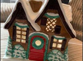 Christmas cottage jar candle holder