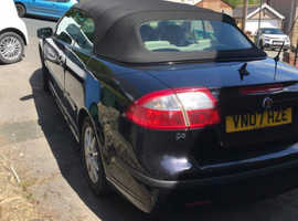 Saab 9-3, 2007 (07) Black Convertible, Manual Petrol, 112,429 miles