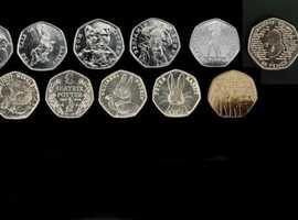 various 50p mixed coins