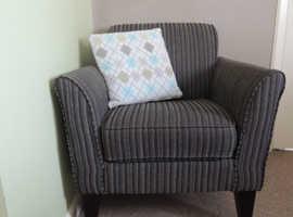 Grey stripe contemporary armchair