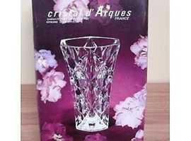 2 unused, lovely, vintage, lead crystal vases, one boxed.