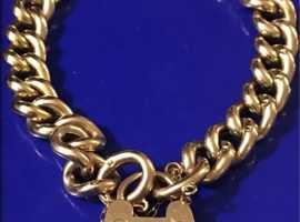 Ladies Jewellery 9ct Gold Padlock Heart Bracelet Fully Hallmarked 9ct 16.6g.