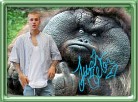 The Monkey gives JUSTIN BIEBER the Finger!