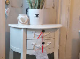 *REDUCED*Brand new with tags* Beautiful White Toulouse half moon console/hall/side table with drawers