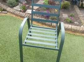 4 Green Aluminium  Garden Chairs.