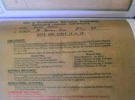Reward for recovery of missing School Leaving Certificate from 1958