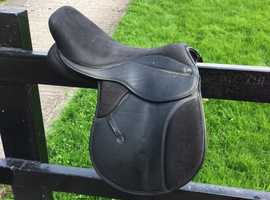 """Pony Saddle 14.5"""" Extra Wide TG Griffin Synthetic Black"""