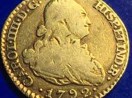 Antique King Charles IV 22ct Gold Escudo Spanish Gold Doubloon Coin Madrid 1792.