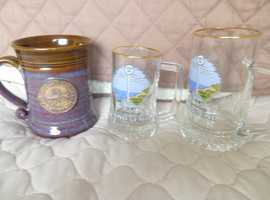 LANDS END CERAMIC & GLASS TANKARDS   NEVER EVER USED