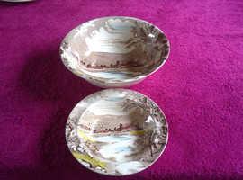 Vintage Fruit Bowl & Desert Bowl By Alfred Meakin Tintern Brown Transfer Ware