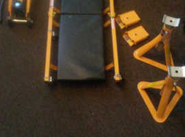 Mechanics 5 piece car lifting kit. Barely used, excellent condition £60. Under car lay down trolley, 2 axle stands, car jack, wheel bolt wrench, 2 whe