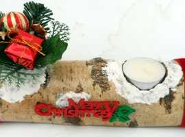 CHRISTMAS YULE-LOG NATURAL WOOD Table Decoratio