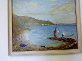 signed framed lovely seascape oil painting