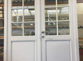 2x NEW Energy efficient timber Flush casement doors OPENS OUTWARDS