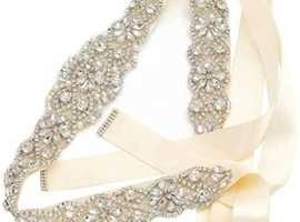 Ivory ribbon and crystal wedding dress belt