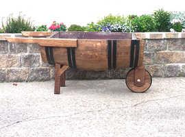 Solid oak wheelbarrow planter whiskey barrel