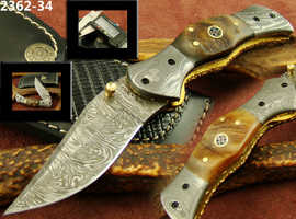 BEAUTIFUL HANDMADE DAMASCUS STEEL FOLDING, POCKET KNIFE WITH LEATHER SHEATH